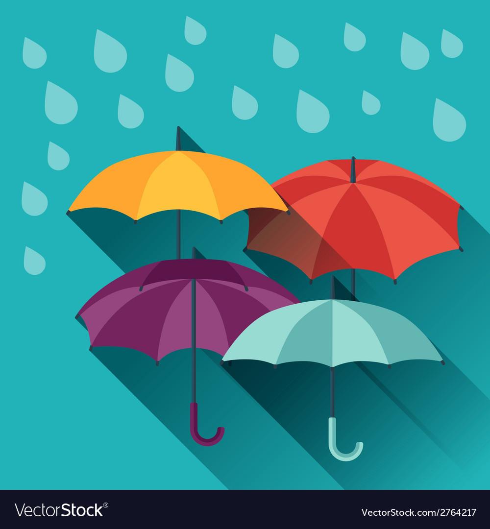Card with multicolor umbrellas in flat design vector | Price: 1 Credit (USD $1)