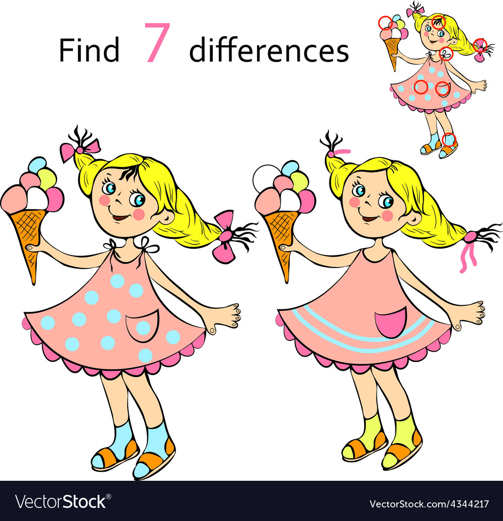Find differences girl vector | Price: 1 Credit (USD $1)