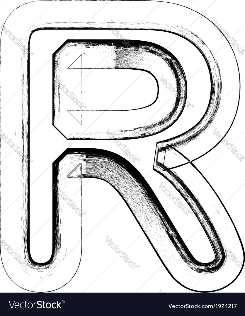 Grunge font letter r vector | Price: 1 Credit (USD $1)