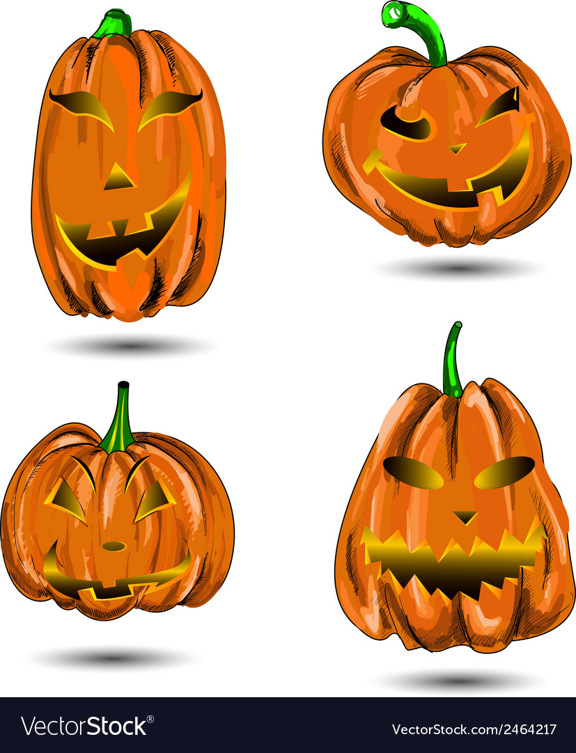 Halloween pumpkin set isolated on white scary jack vector | Price: 1 Credit (USD $1)