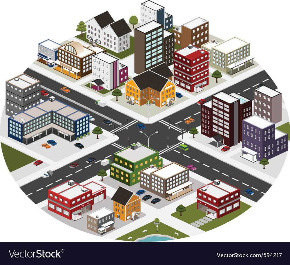 Intersection in the big city vector | Price: 5 Credit (USD $5)