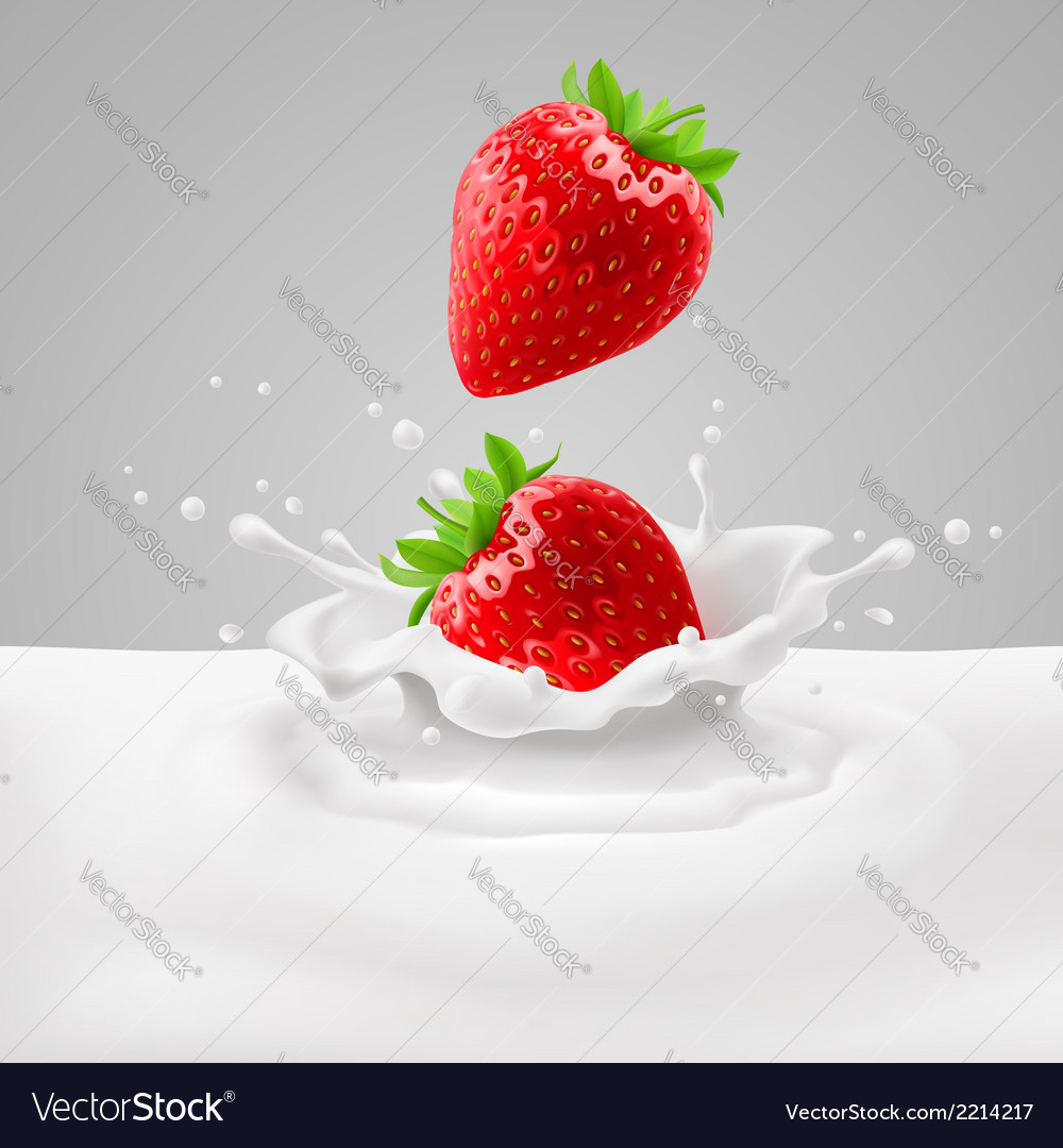 Strawberries with milk vector | Price: 1 Credit (USD $1)