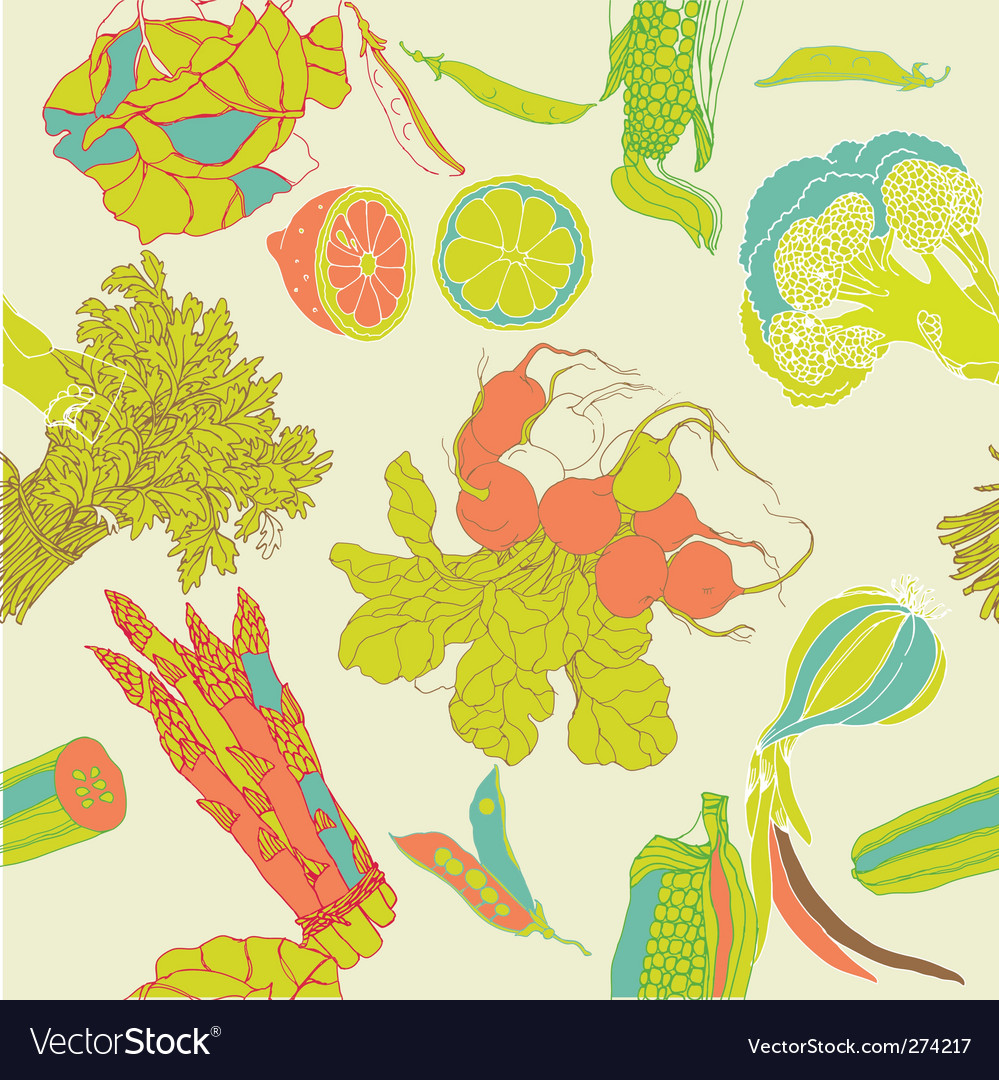 Vegetables seamless pattern vector | Price: 1 Credit (USD $1)