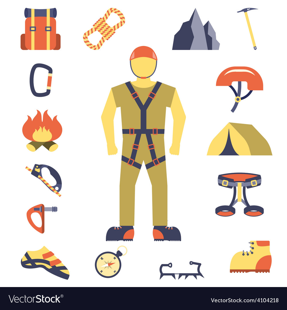 Climber gear equipment icons flat vector | Price: 1 Credit (USD $1)