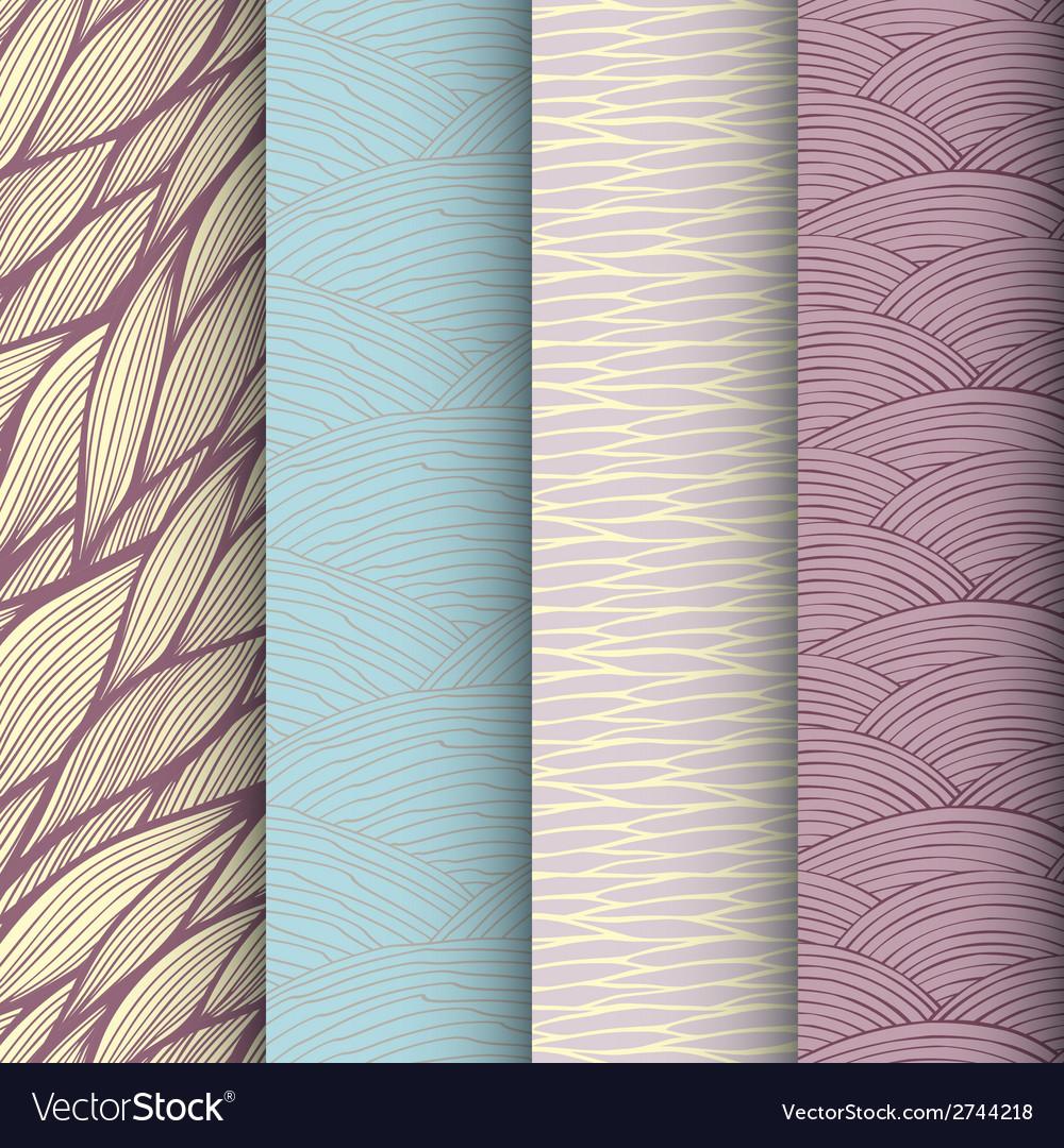 Decorative waves seamless patterns set vector | Price: 1 Credit (USD $1)