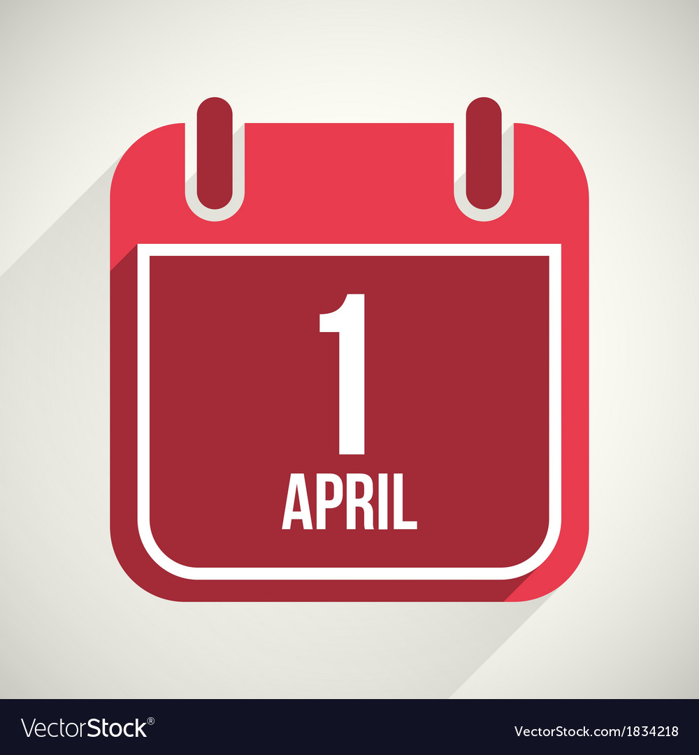 Flat calendar apps icon 1 april fools day vector | Price: 1 Credit (USD $1)