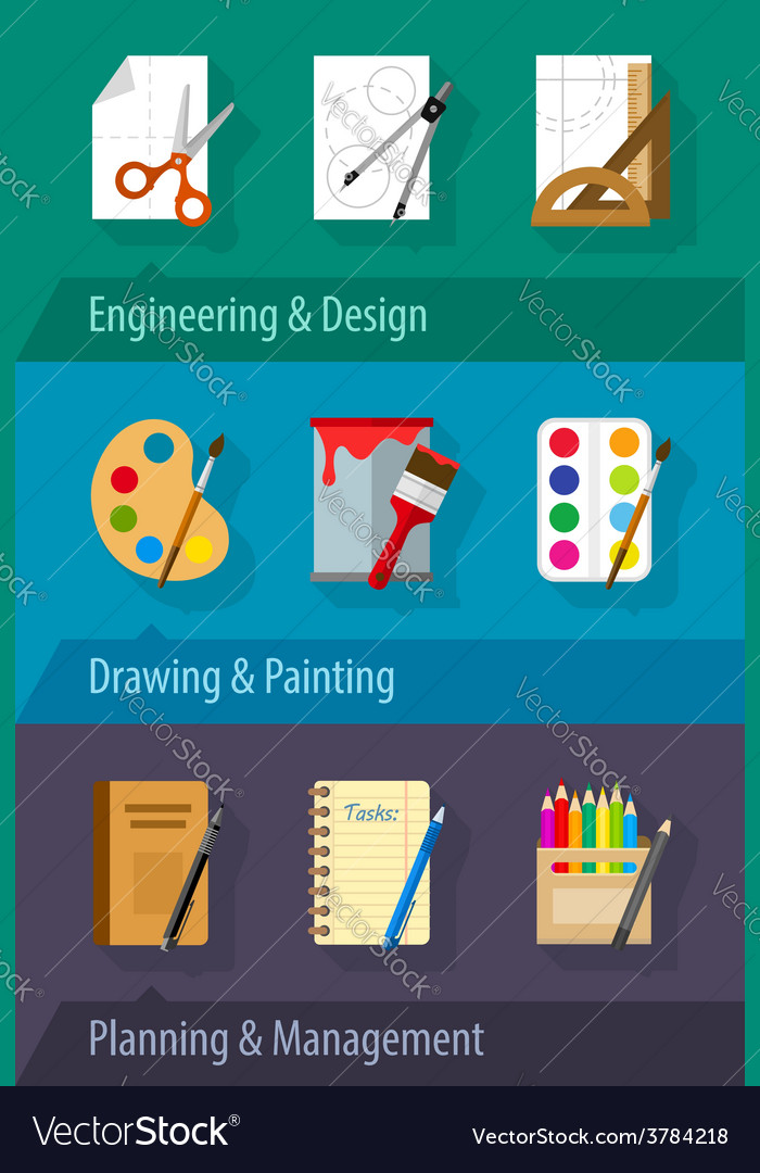 Flat icons engineering design vector | Price: 1 Credit (USD $1)