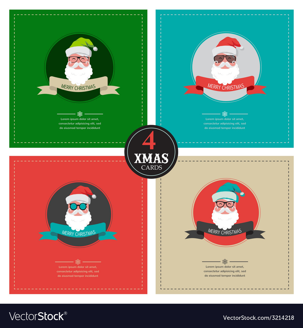 Four xmas cards with hipster santa place for your vector | Price: 1 Credit (USD $1)