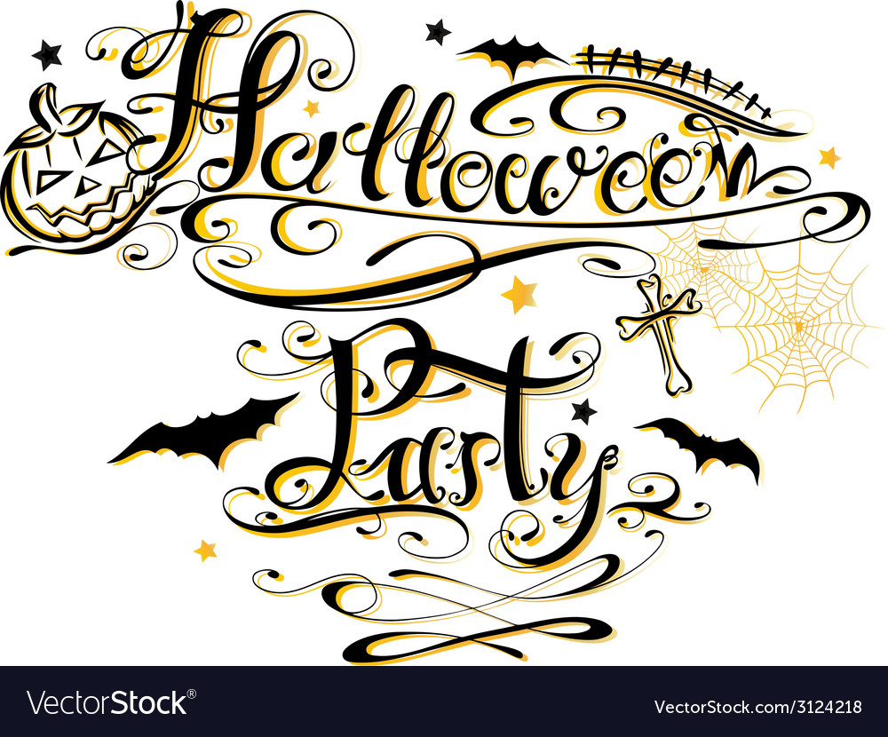 Halloween party lettering vector | Price: 1 Credit (USD $1)
