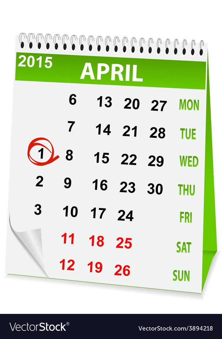 Icon calendar for april 1 vector | Price: 1 Credit (USD $1)