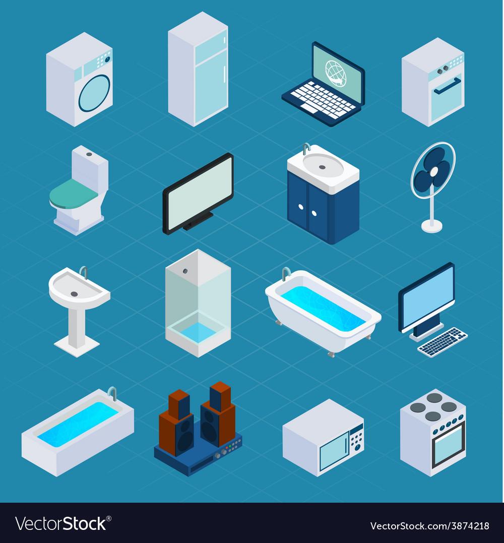 Isometric household appliances vector | Price: 1 Credit (USD $1)