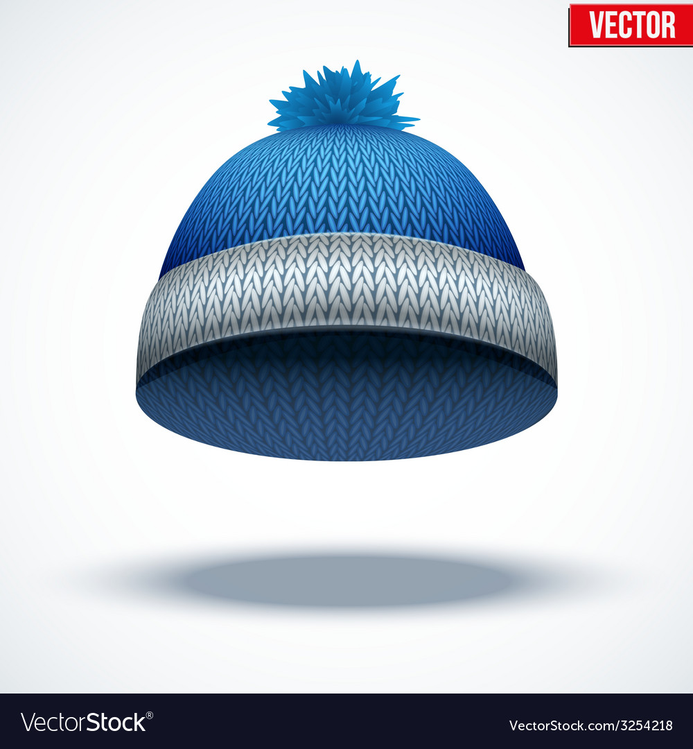 Knitted woolen cap winter seasonal blue hat vector | Price: 1 Credit (USD $1)