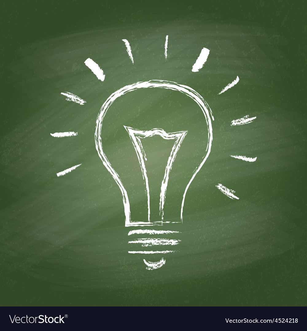 Light bulb idea chalk icon on green vector