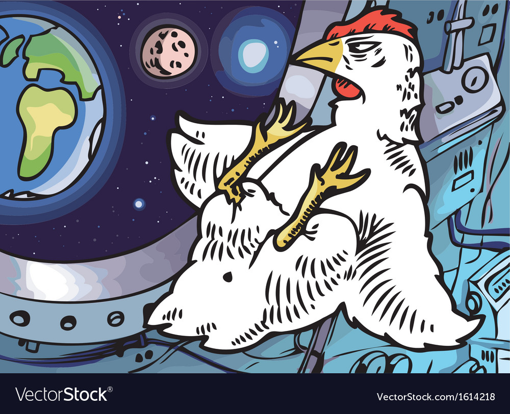 Space chicken vector | Price: 3 Credit (USD $3)