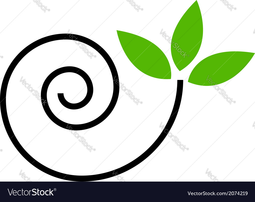 Abstract drawing of a cute snail with green leaves vector | Price: 1 Credit (USD $1)