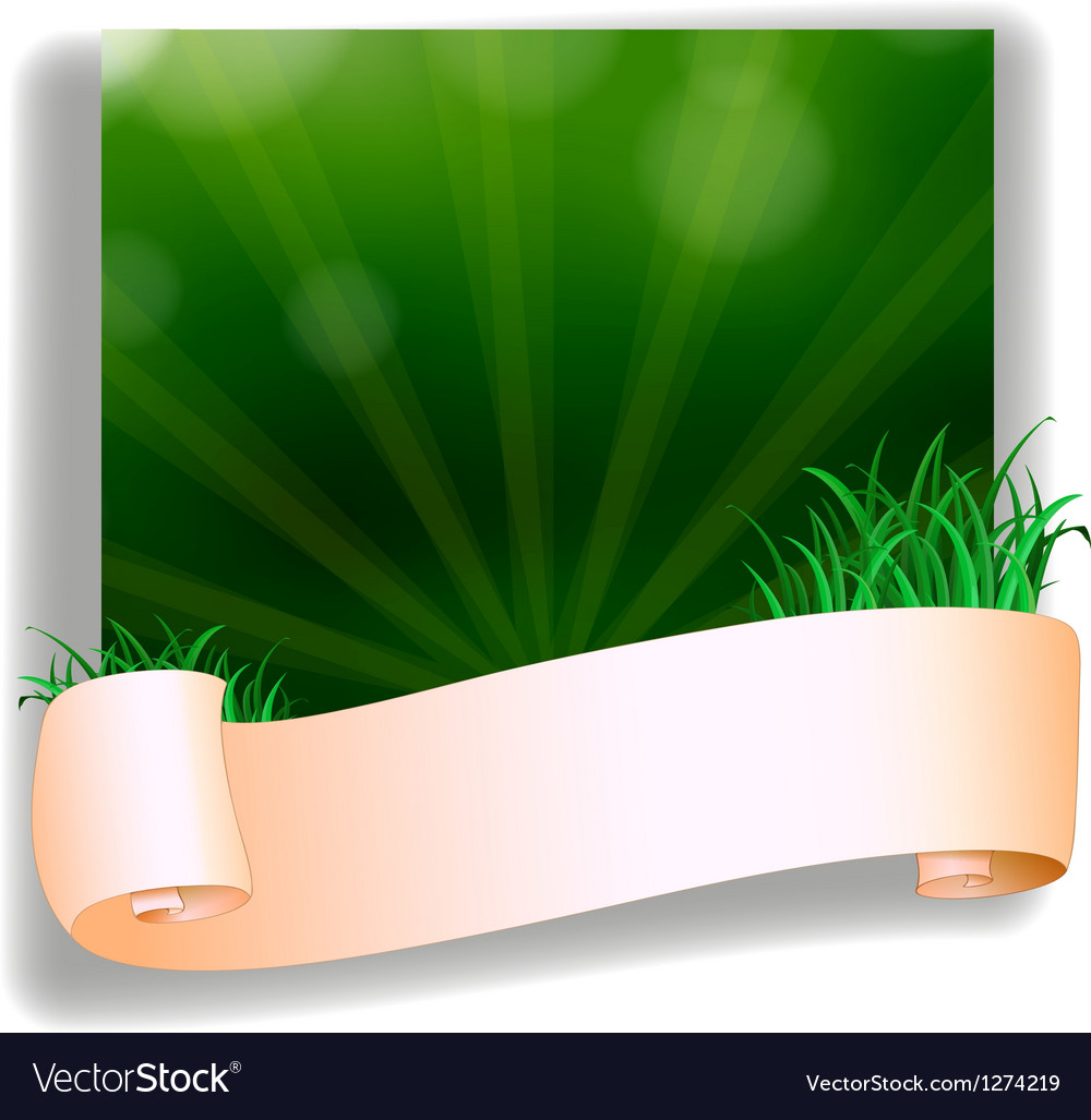 An empty template in front of the green grass vector | Price: 1 Credit (USD $1)