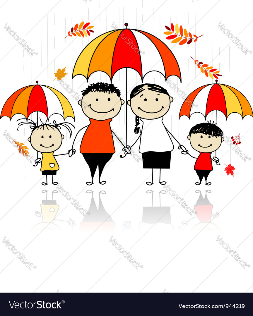 Autumn season family with umbrellas vector | Price: 1 Credit (USD $1)