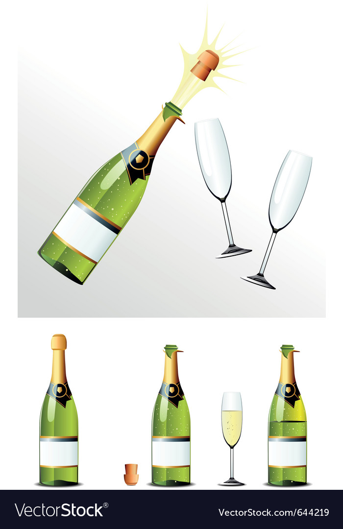 Champagne bottle vector | Price: 3 Credit (USD $3)