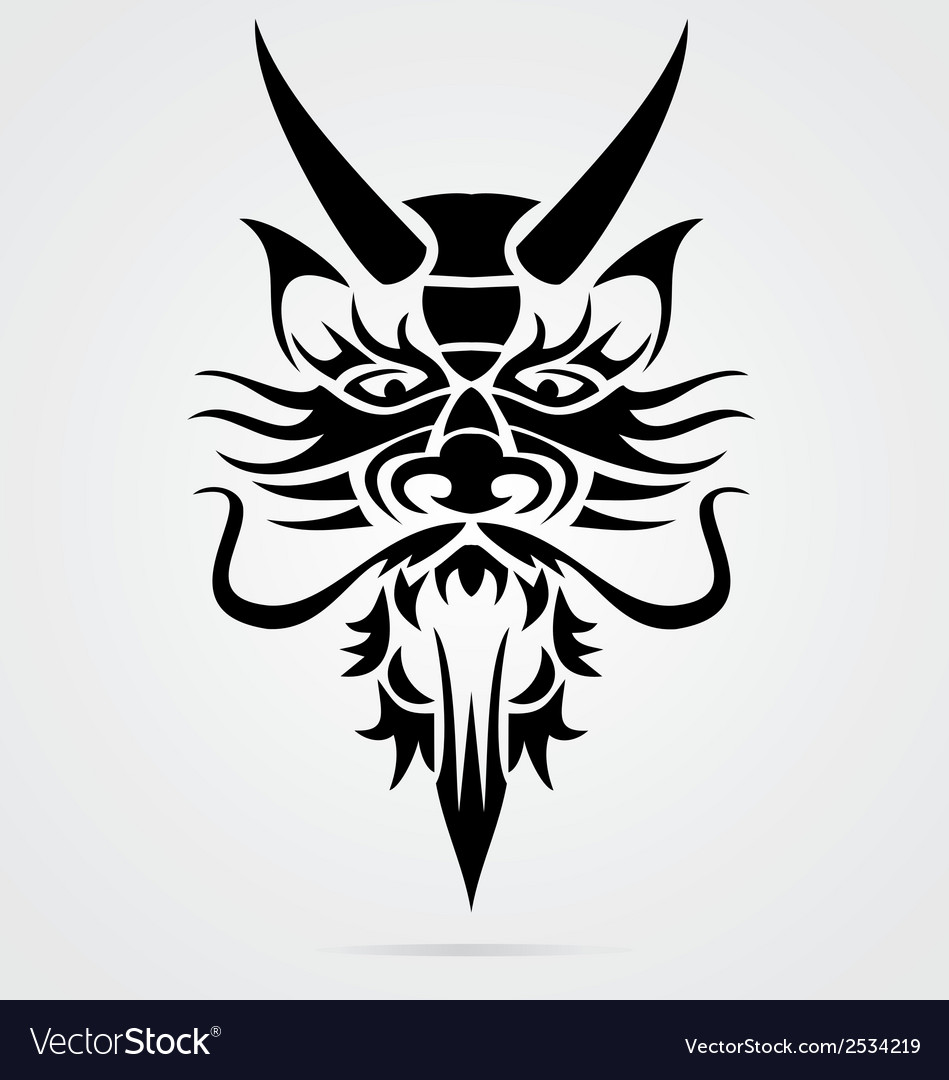 Dragon head tribal vector | Price: 1 Credit (USD $1)