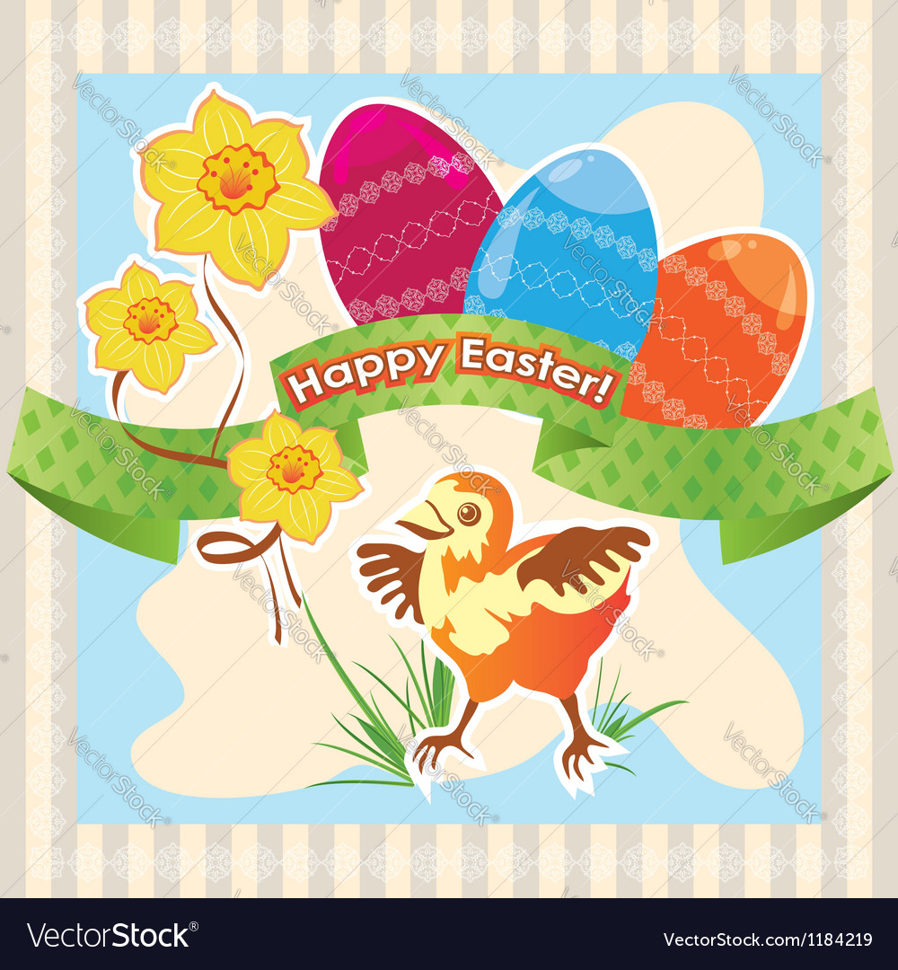 Greetings card happy easter vector | Price: 1 Credit (USD $1)