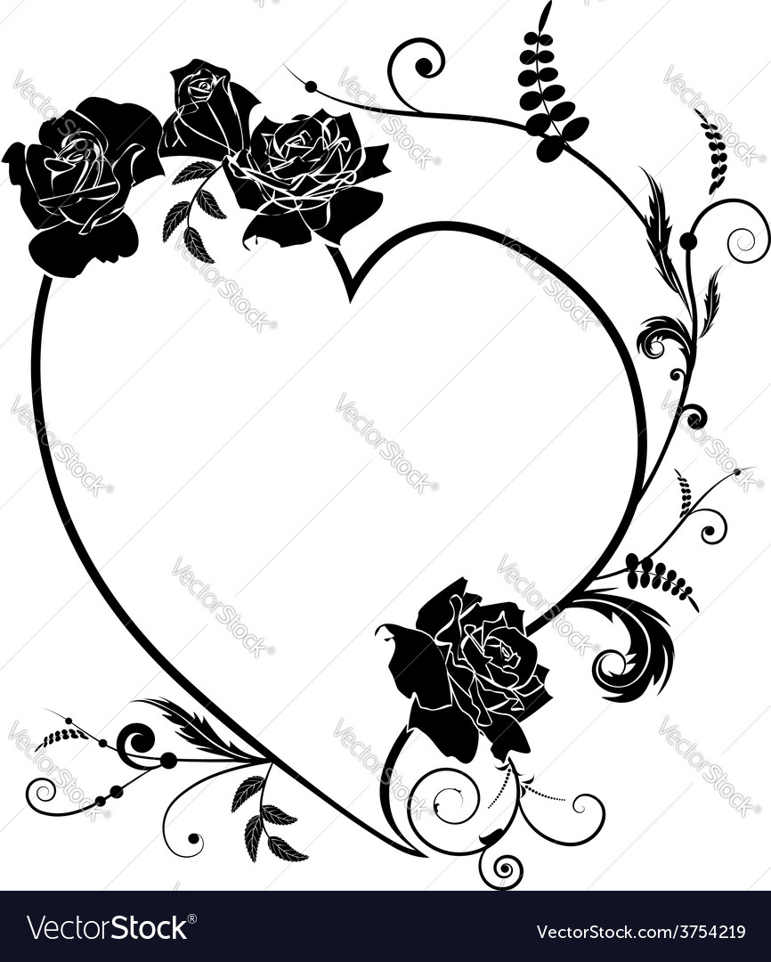 Heart and rose frame vector