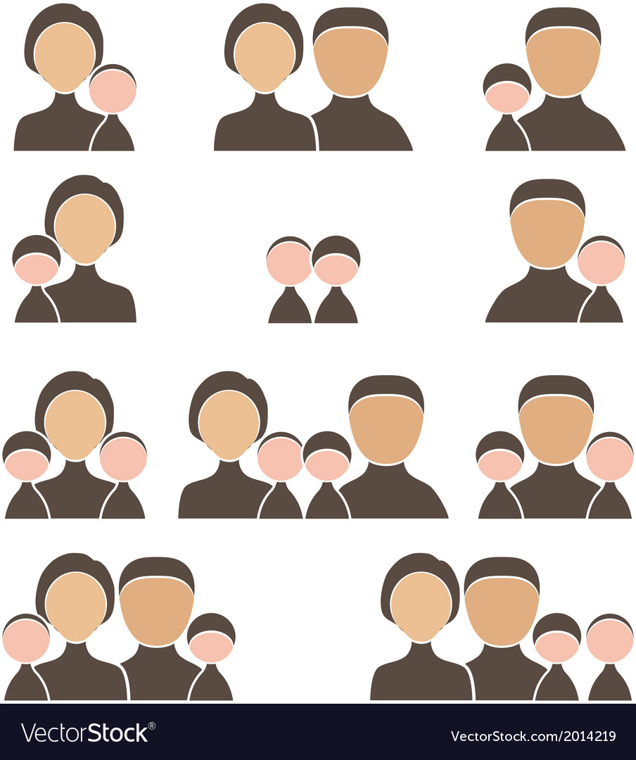 People family icon set vector | Price: 1 Credit (USD $1)