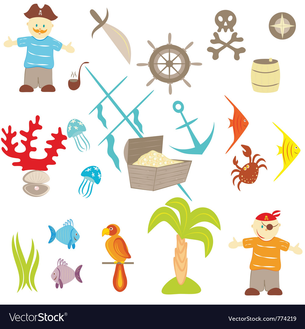 Piracy set vector | Price: 1 Credit (USD $1)