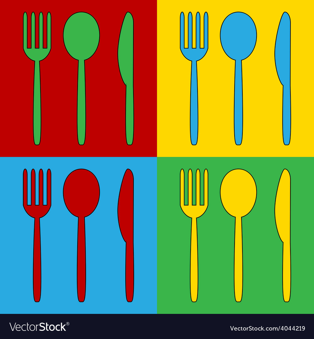 Pop art fork spoon and knife icons vector | Price: 1 Credit (USD $1)