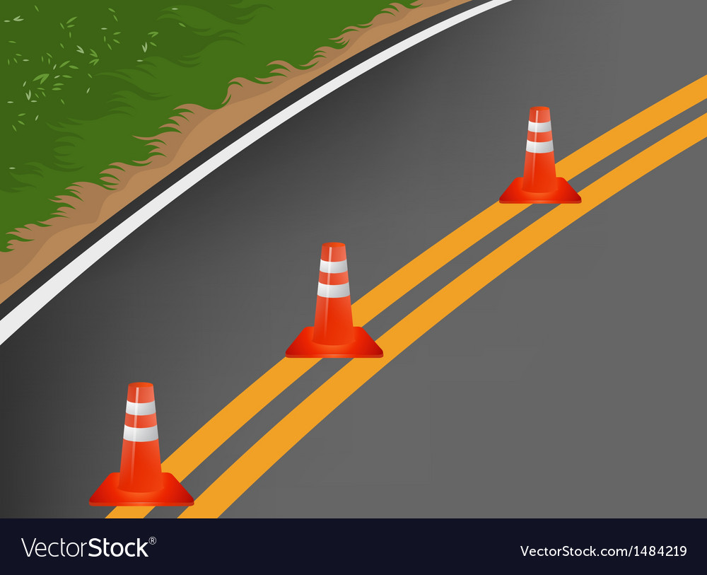 Road with traffic cones cartoon background vector | Price: 1 Credit (USD $1)