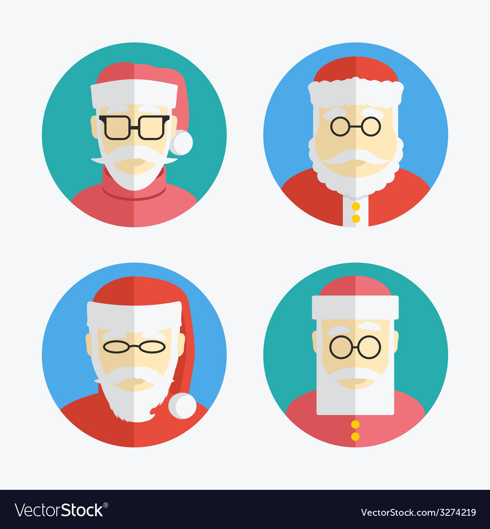 Santa claus avatar flat icons collection vector | Price: 1 Credit (USD $1)