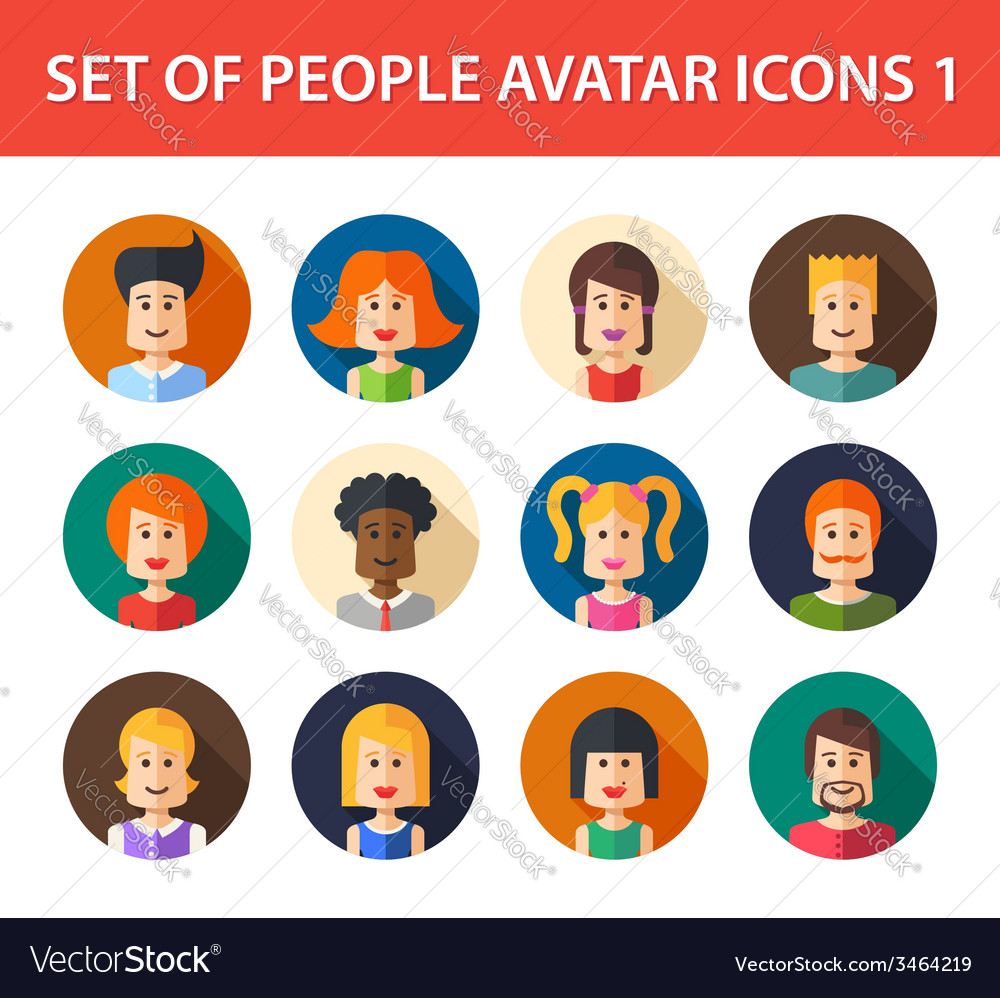 Set of isolated flat design people icon avatars vector | Price: 1 Credit (USD $1)