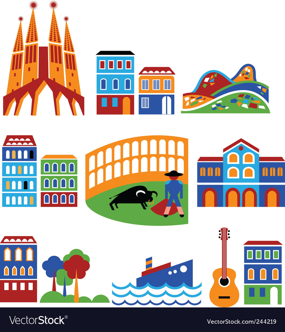 Spain landmarks vector | Price: 1 Credit (USD $1)