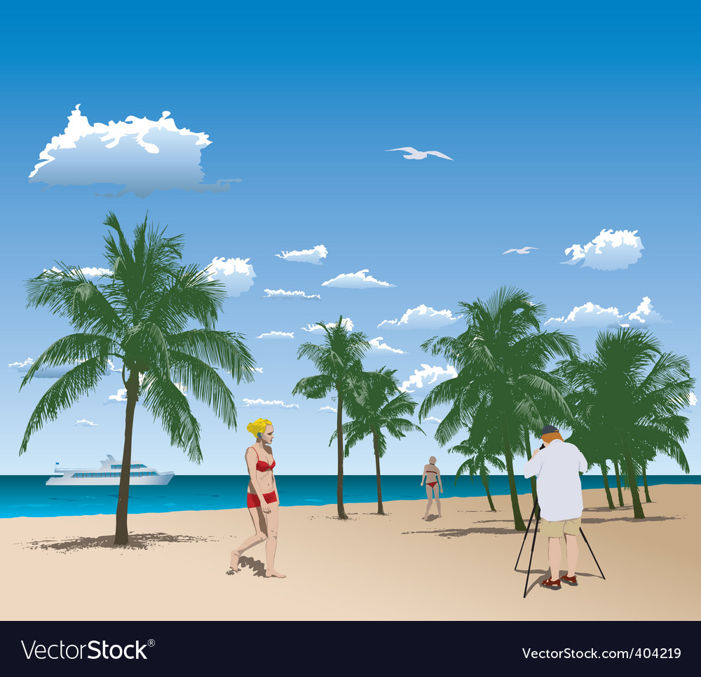 Tourists in tropical beach vector | Price: 3 Credit (USD $3)