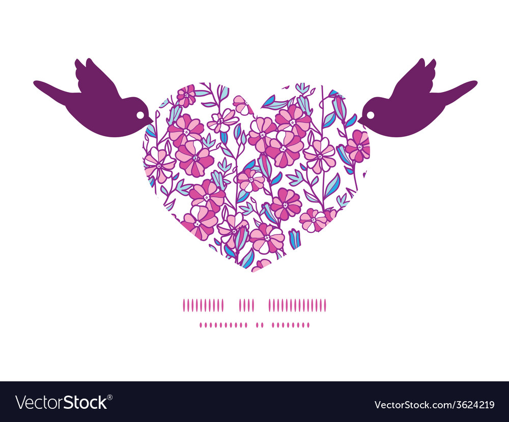 Vibrant field flowers birds holding heart vector | Price: 1 Credit (USD $1)