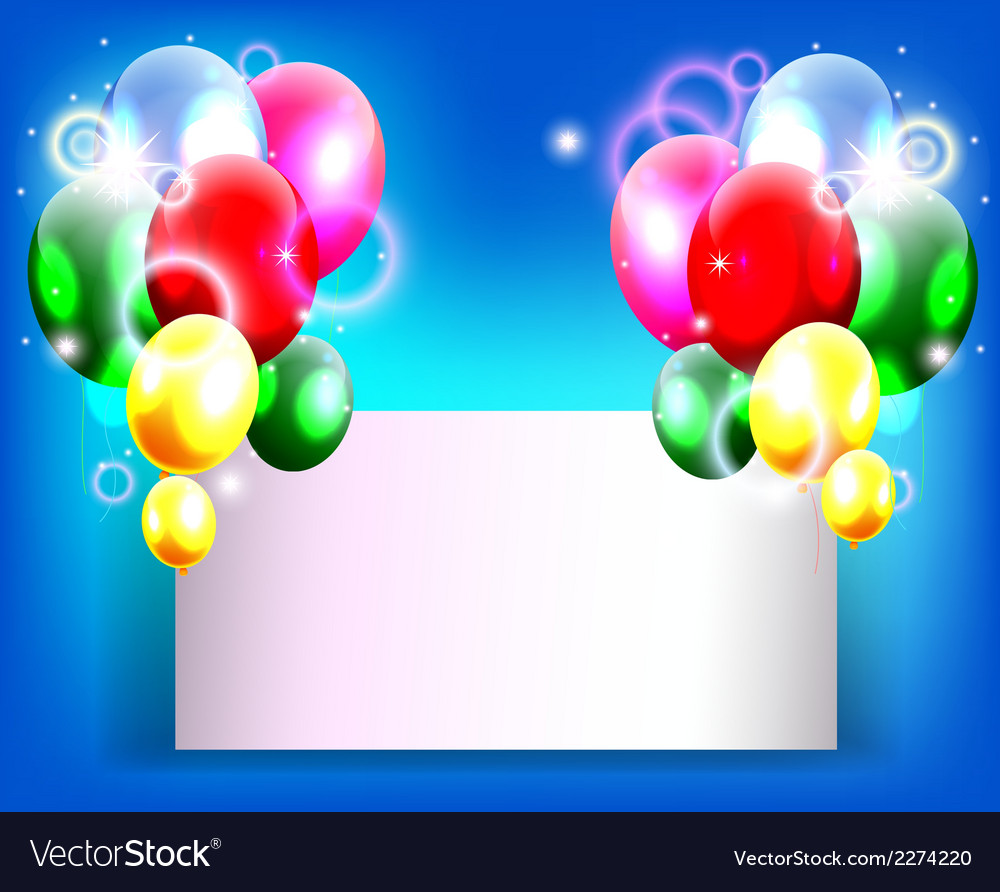 Balloons decoration for you design with blank sign vector | Price: 1 Credit (USD $1)