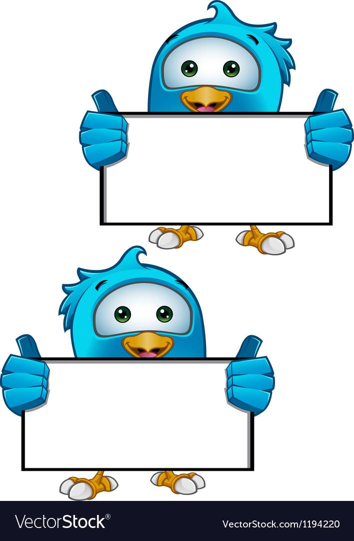 Blue bird holding blank sign vector   Price: 1 Credit (USD $1)