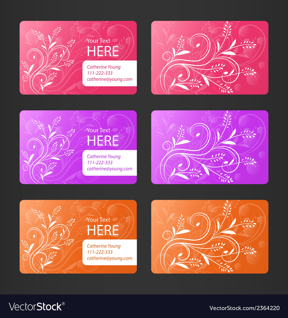 Business cards with floral theme vector   Price: 1 Credit (USD $1)
