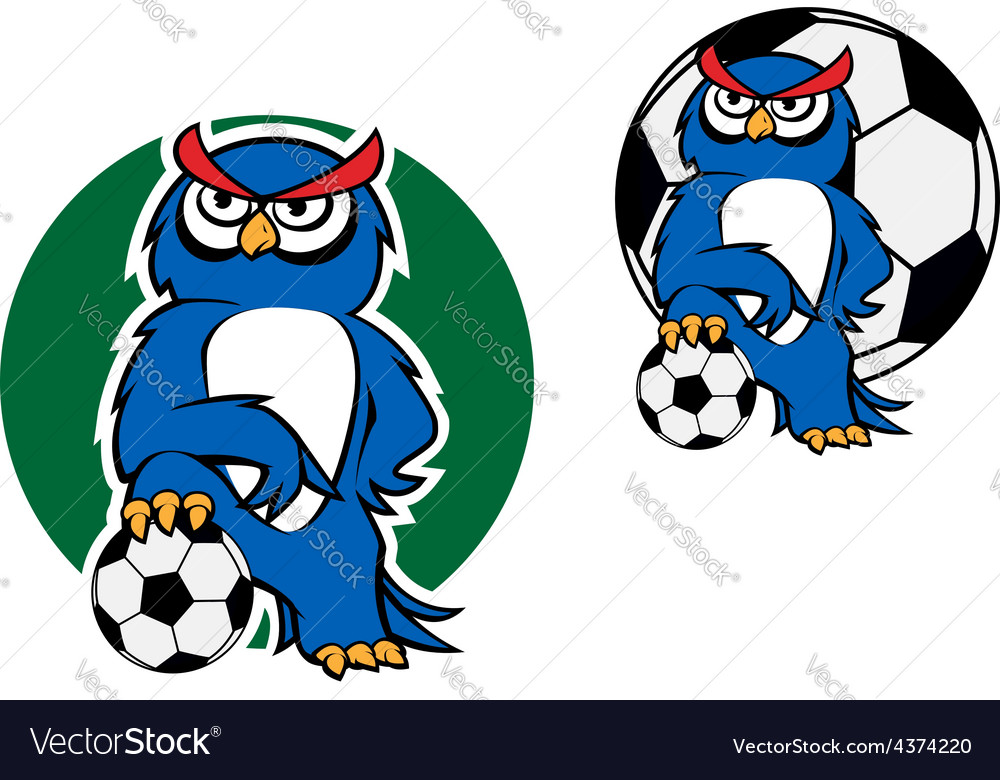 Cartoon owl character with football ball vector | Price: 1 Credit (USD $1)