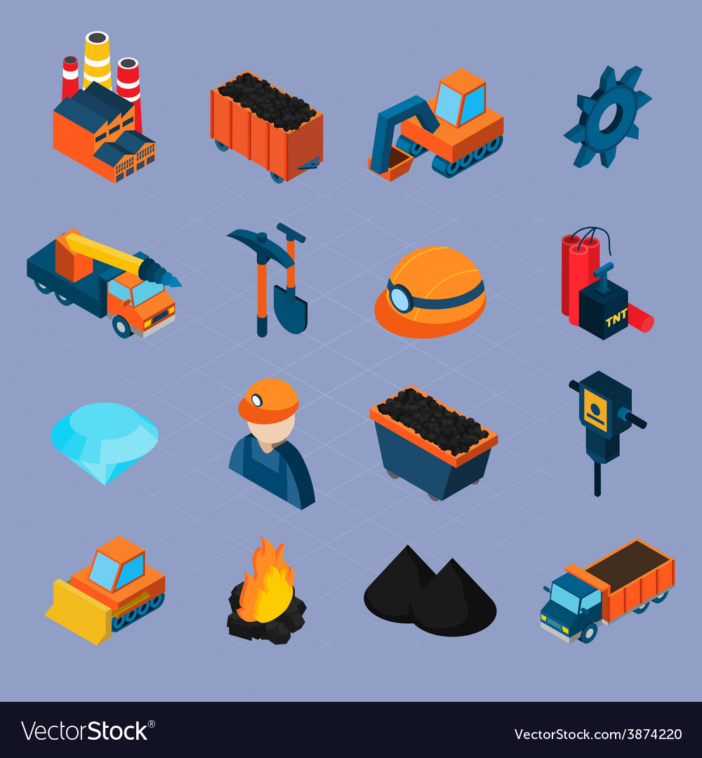 Coal industry isometric set vector | Price: 1 Credit (USD $1)