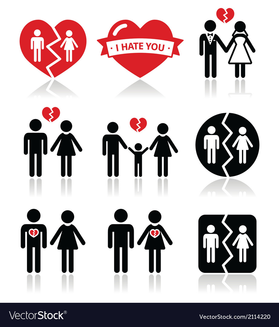 Couple breakup divorce icons set vector | Price: 1 Credit (USD $1)
