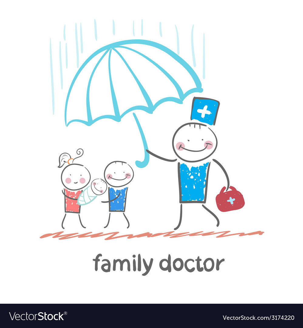 Family doctor holding an umbrella from the rain on vector | Price: 1 Credit (USD $1)