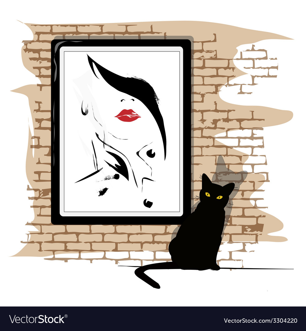 The girls portrait on a wall vector | Price: 1 Credit (USD $1)
