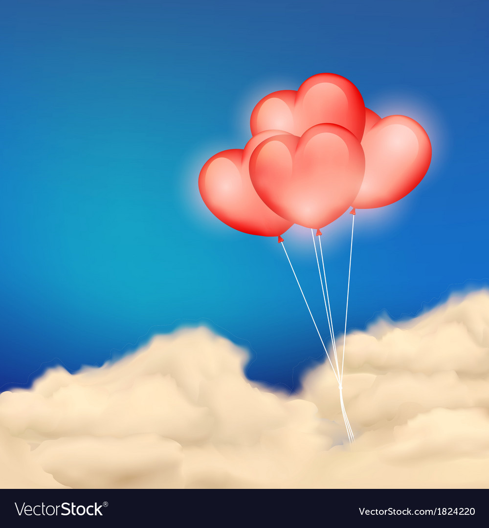 Heart balloon in cloudscape vector | Price: 1 Credit (USD $1)