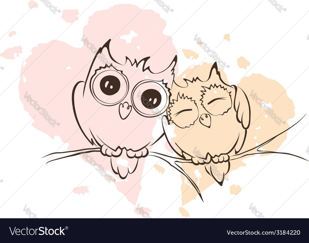 Love owls on a branch vector | Price: 1 Credit (USD $1)