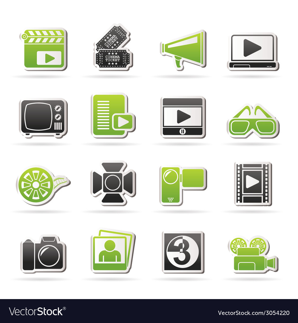 Movie and cinema icons vector | Price: 1 Credit (USD $1)