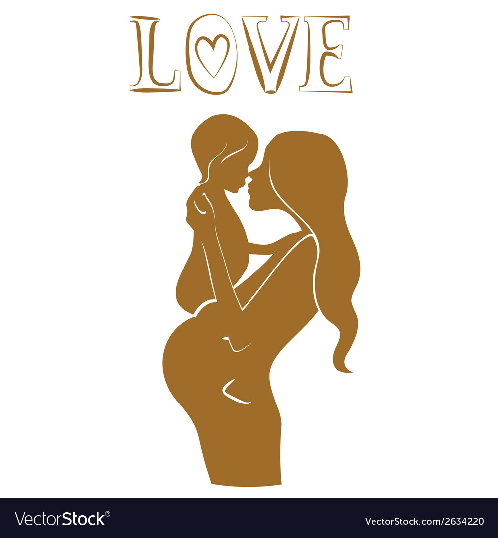 Pregnant mother with baby lovely design vector | Price: 1 Credit (USD $1)