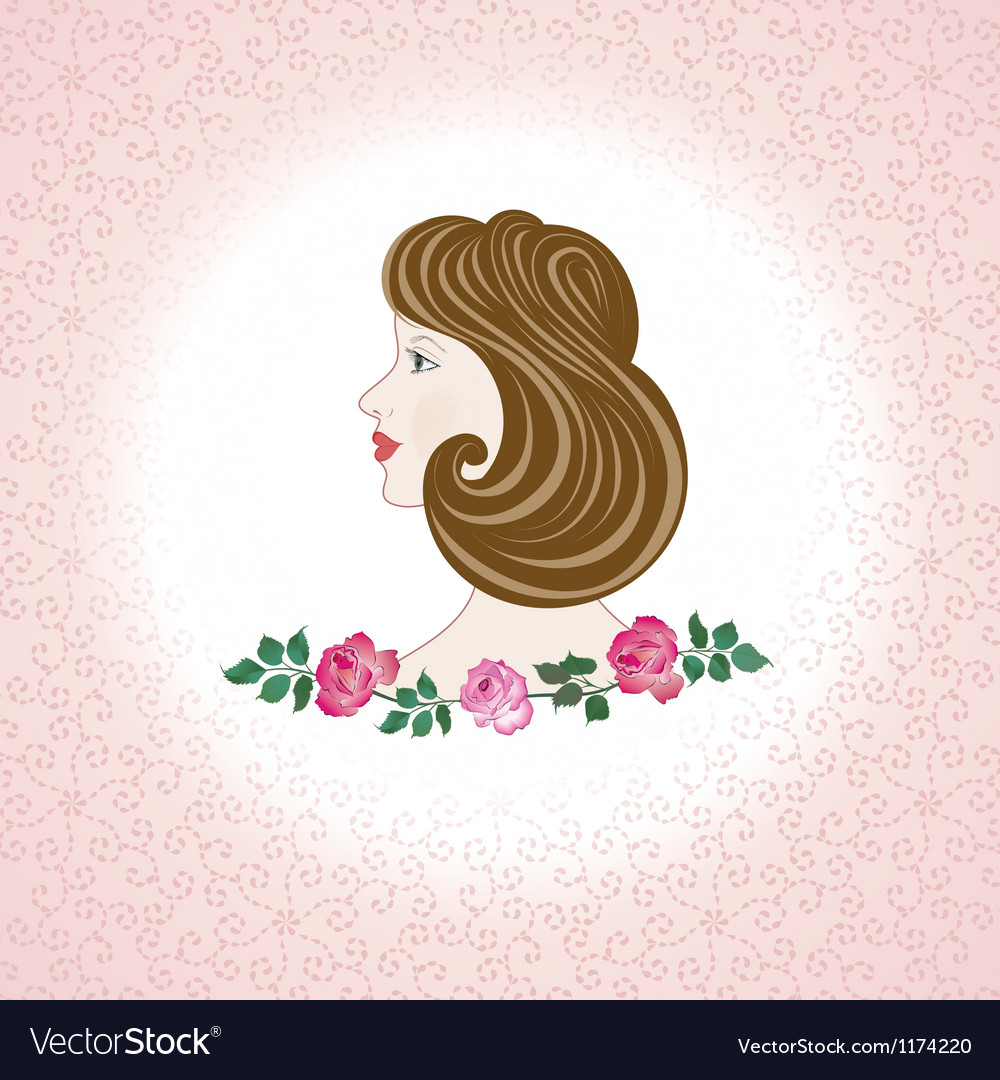 Profile feminine face with roses vector | Price: 1 Credit (USD $1)