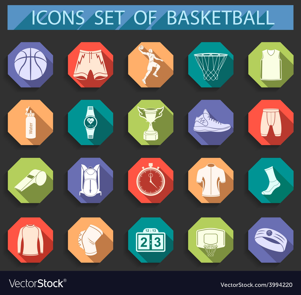 Set of icons basketball in flat style vector | Price: 1 Credit (USD $1)