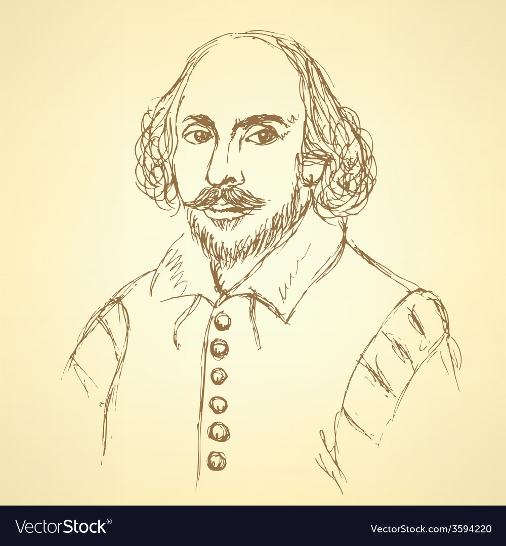 Sketch william shakespeare portrait in vintage vector | Price: 1 Credit (USD $1)