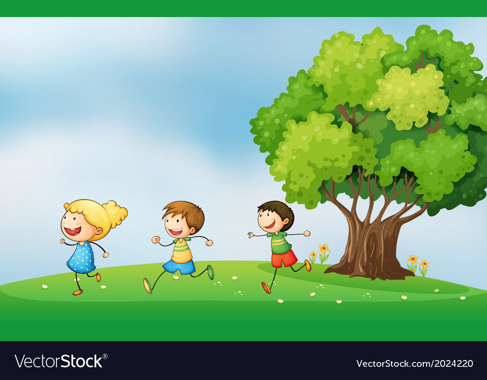 Three energetic kids playing at the hilltop with a vector | Price: 1 Credit (USD $1)